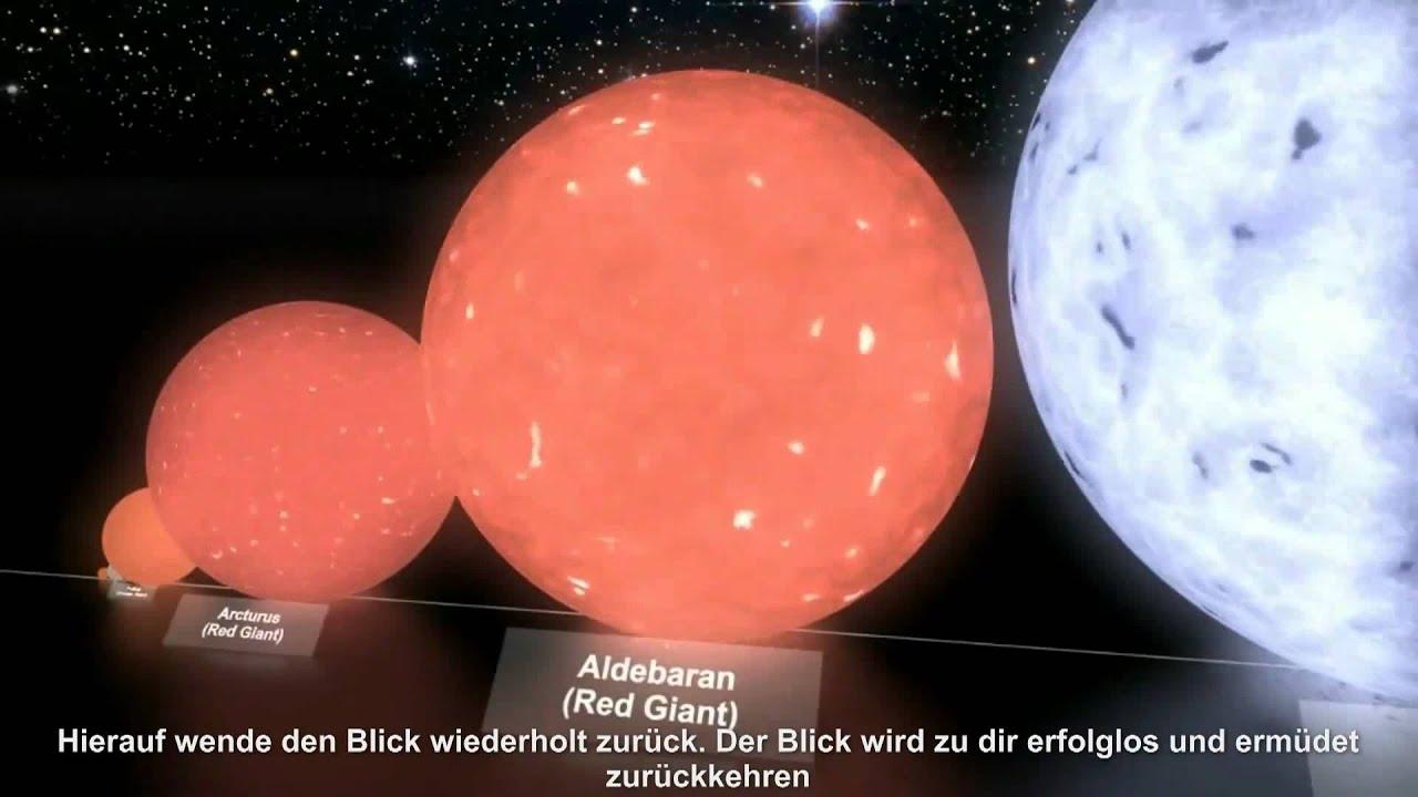 Planeten und Sterne im Größenvergleich - YouTube
