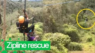 Woman Rescued after getting Stuck on Zipwire