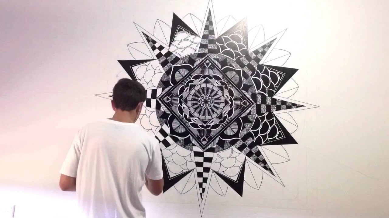 how to draw a mandala on a wall