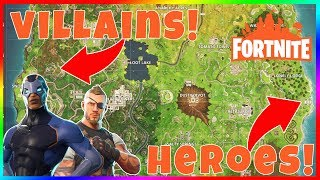 NOUVEAU HEROES ET VILLAINS DROP ZONES EN FORTNITE! Sites d'atterrissage super secrets avec coffres cachés!