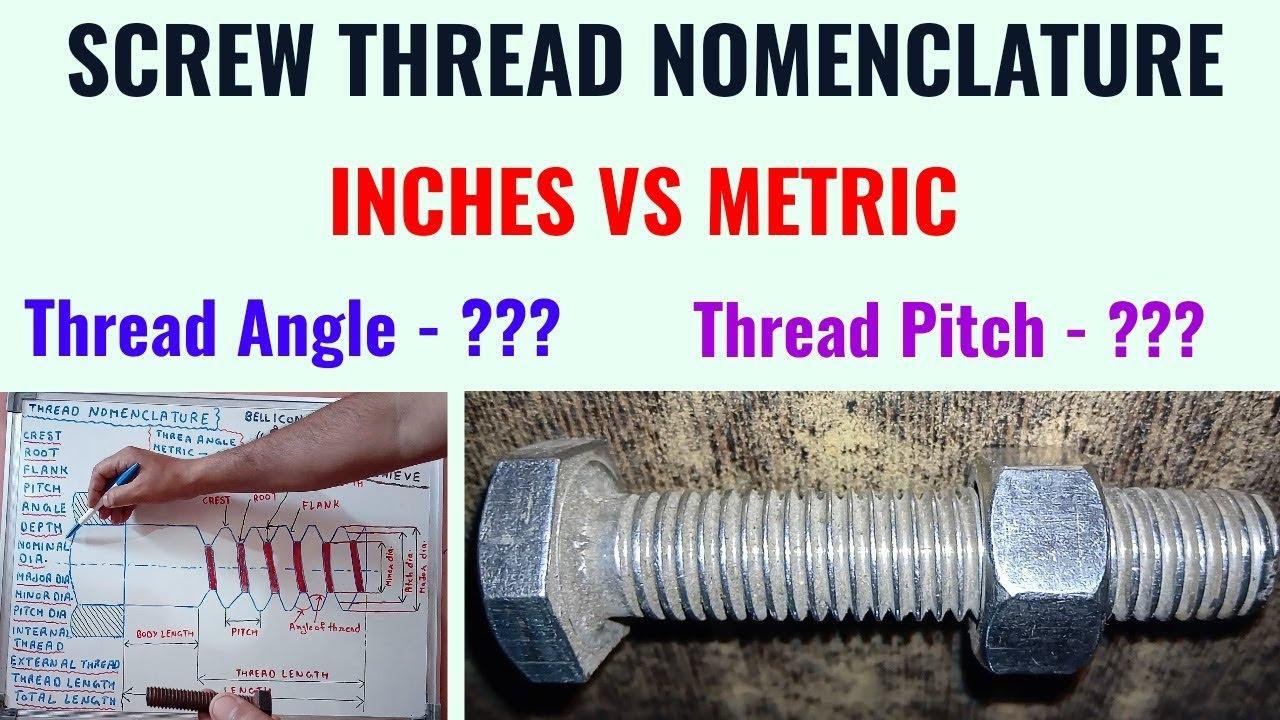 Screw Thread Nomenclature in Hindi