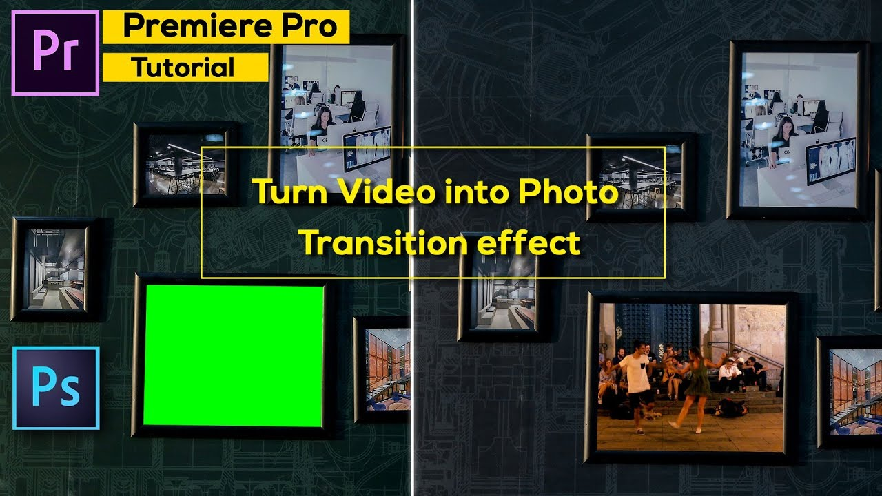Premiere pro Tutorial : Place video inside photo and Create video to photo  transition | 2018*