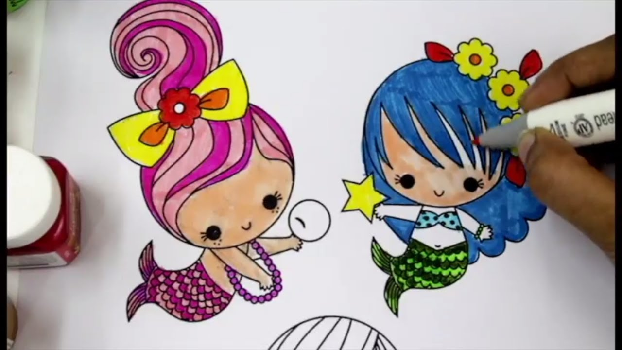 Coloring cute and colorful mermaids, cute coloring pages for kids ...