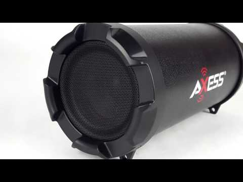 Axess SPBT-1030 Portable Rechargeable Cylinder Bluetooth MP3 Boombox Speaker