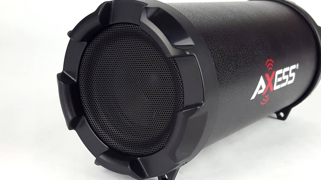 axess spbt 1030 portable rechargeable cylinder bluetooth mp3 boombox speaker [ 1280 x 720 Pixel ]