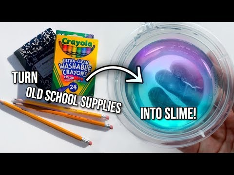 NO GLUE SLIME 📓🌈 how to turn your old school supplies into slime!!