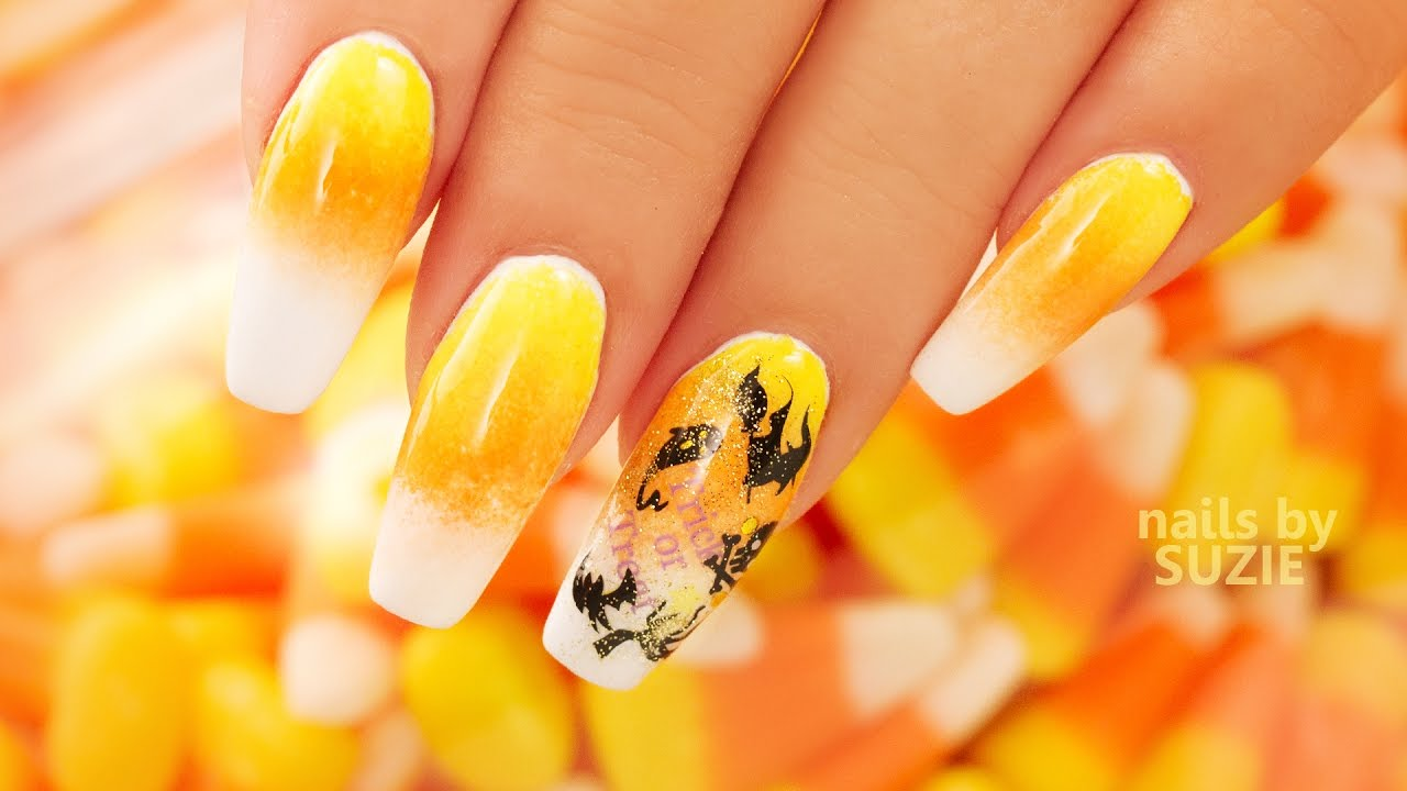 Candy Corn Ombre Nails - YouTube