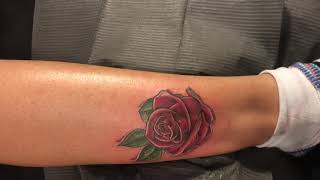 Rose done in color by 11 mag in living color tattoo studio
