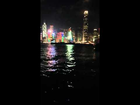Night view on Hong Kong from Kowloon side (HD)