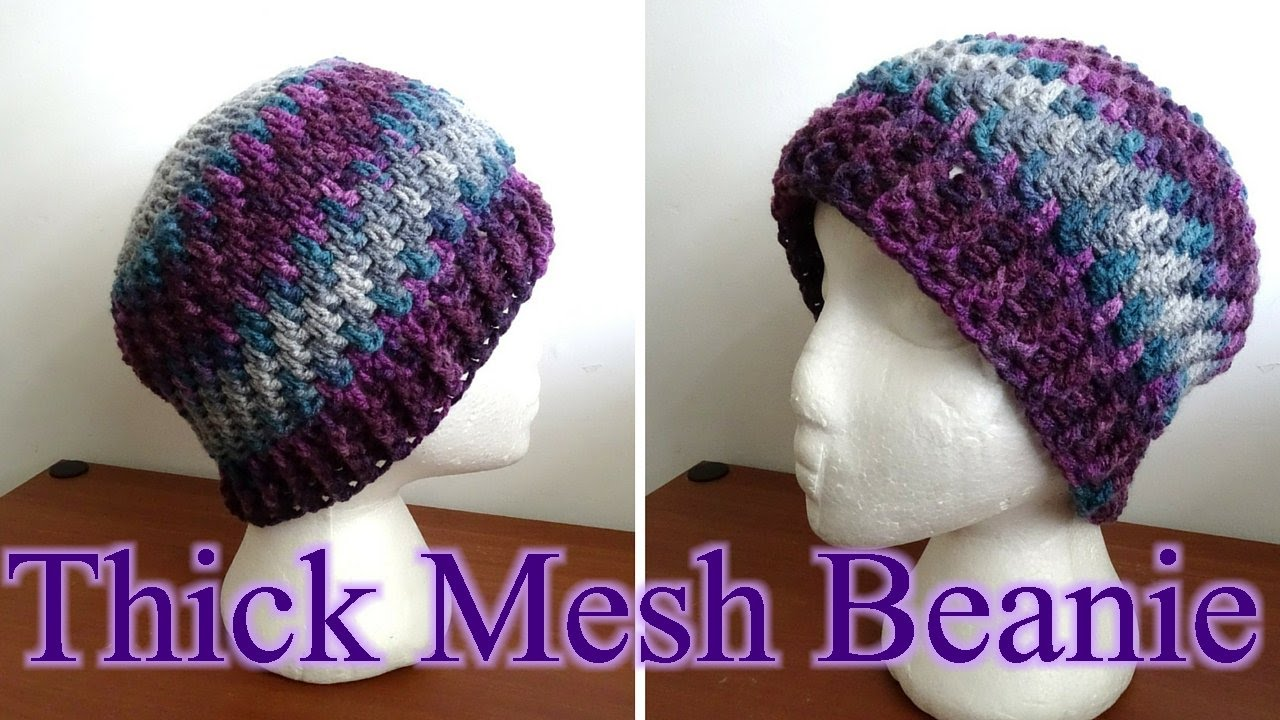 9801daaec0a Thick Crochet Mesh Beanie - Crochet Tutorial (Baby - Adult Sizes ...