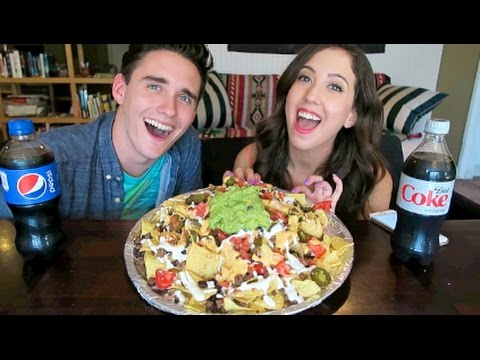 GIANT CHEESY NACHO MOUNTAIN!! MUKBANG Eating Show!