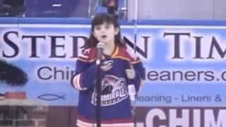 Elizabeth Hughes, 8 years old, encore performance of National Anthem, Norfolk Admirals, Scope Arena