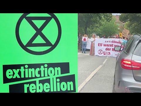 Klimaaktivisten blockieren Straße in Hamburg