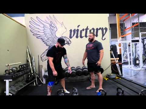 Joe Daniels working the Kettlebell snatch and UniLateral stabilization with Chris Duffin