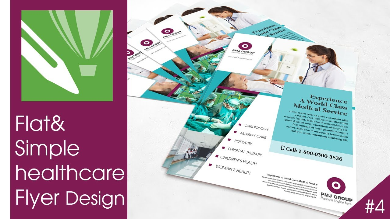 flat and simple healthcare flyer design tutorial in corel