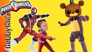 FNAF Battle Power Rangers! Surprise Toys + Lazors Megazord Swords Imaginext HobbyKidsTV