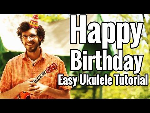 Happy Birthday Song - Easy Ukulele Tutorial - Strumming