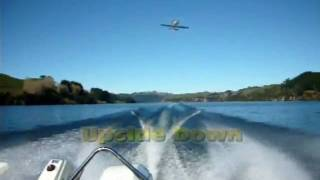 Thunder Tiger Cessna 177 Cardinal Float Plane flying from a moving boat