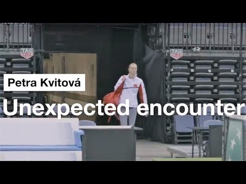 Tomas Berdych disguised as an old German man rallies against an unknowing Petra Kvitova {2018} FUNNY