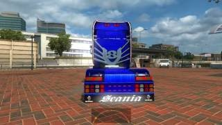 Scania Mega Store added tuning to default Scania R & Streamline, Scania R2008, http://sharemods.com/a6i7mh8owx3y/Ets2_Scania_Megastore_1.24.7z.html adapted from 1.19 version to 1.24 version adapted to the DLC cabin Accessories, -Compatible with DLC Wheel