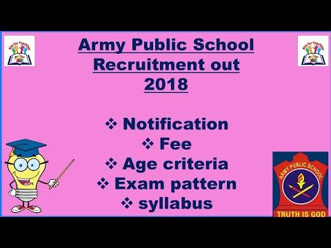 Army Public School Teacher Recruitment 2018 ll Notification, Syllabus, Age, Exam Pattern, Fee ll
