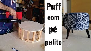 Puff redondo pé palito inclinado/ Upholstered stool with wooden foot