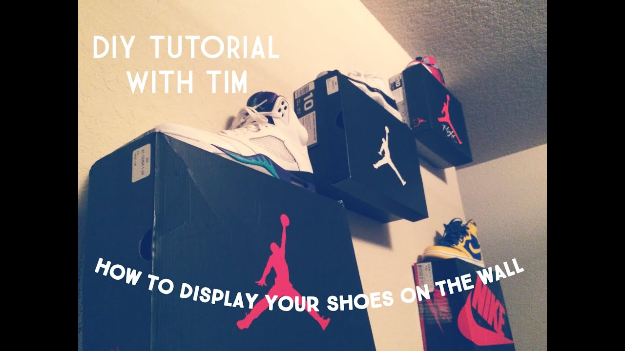How to display your shoes on the wall tutorial youtube for How to hang a bed from the wall
