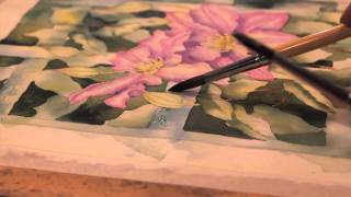 Clematis Watercolour Tutorial Part 10 // Trellis Textures