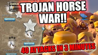 80 ATTACKS IN LAST 5 MINUTES OF THE WAR |YOUTUBERS TROJAN WAR CLASH OF CLANS
