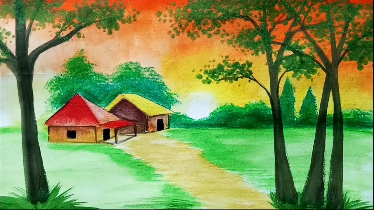 how to draw sunset scenery    landscape with watercolor