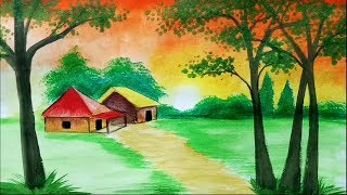 How to draw sunset scenery / landscape with watercolor step by step