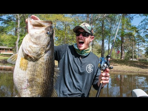 GIANT BASS FOUND in MUDDY CREEK! BED FISHING with JIGS