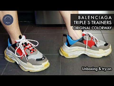 a070bb3de19c Balenciaga Triple S Trainers Sneakers Men s Original Color  Red Blue Yellow  Unboxing and Try-On