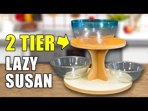 How to Make a Lazy Susan Turning Table - 2 TIERS!