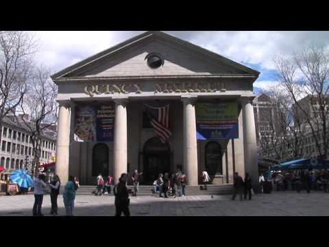 Quincy Market Boston Front Entrance near Faneuil Hall in Downtown Boston North End Massachusetts MA
