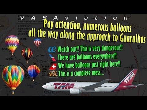 [REAL ATC] Hot Air Balloons NEAR COLLIDE SEVERAL AIRCRAFT at Sao Paulo!!