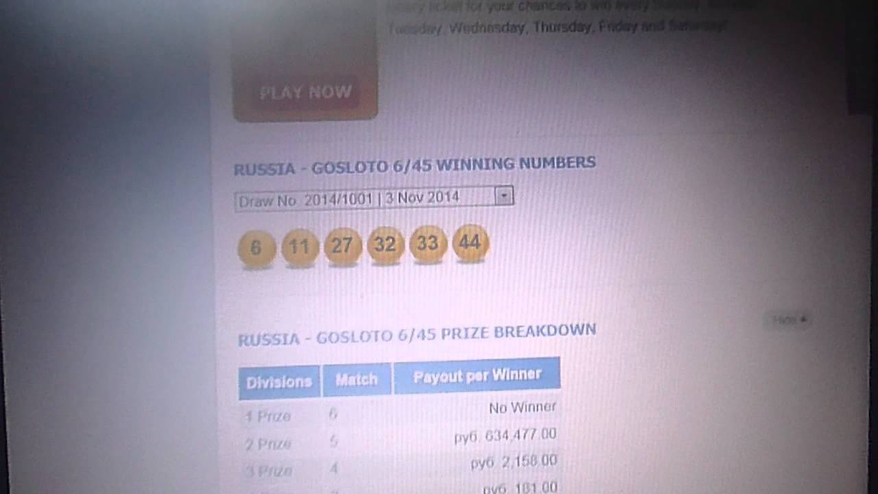 SUGGEST KEY COMBINATIONS RUSSIA LOTTO (GOSLOTO 6/45) THU 06 NOV 2014