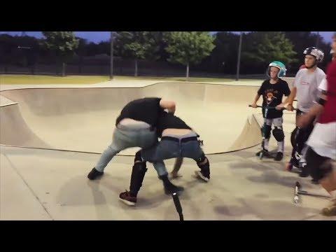 Быдло в скейт-парке, не надо так (самокат vs скейт)