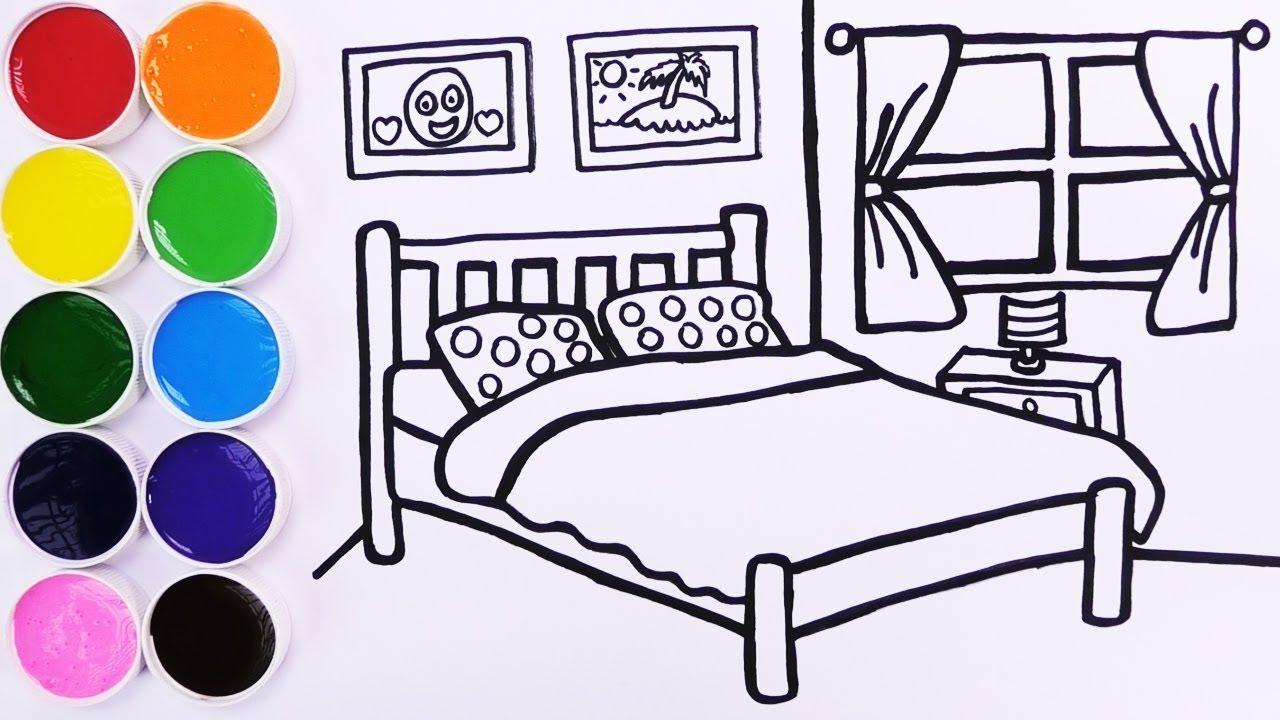 Como Dibujar Y Colorear Dormitorio De Colores How To Draw Bedroom For Kids Funkeep