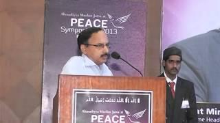 (English) Speech by Bangalore Press Club President @ Ahmadiyya Muslim Peace Symposium 2013