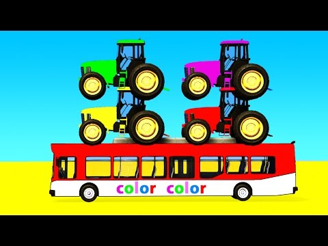 Thumbnail: COLOR Tractor on Bus & Spiderman Cars Cartoon with Superheroes for kids and babies!