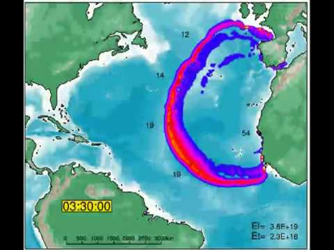 Canary Islands La Palma , Atlantic Tsunami Simulation US UK