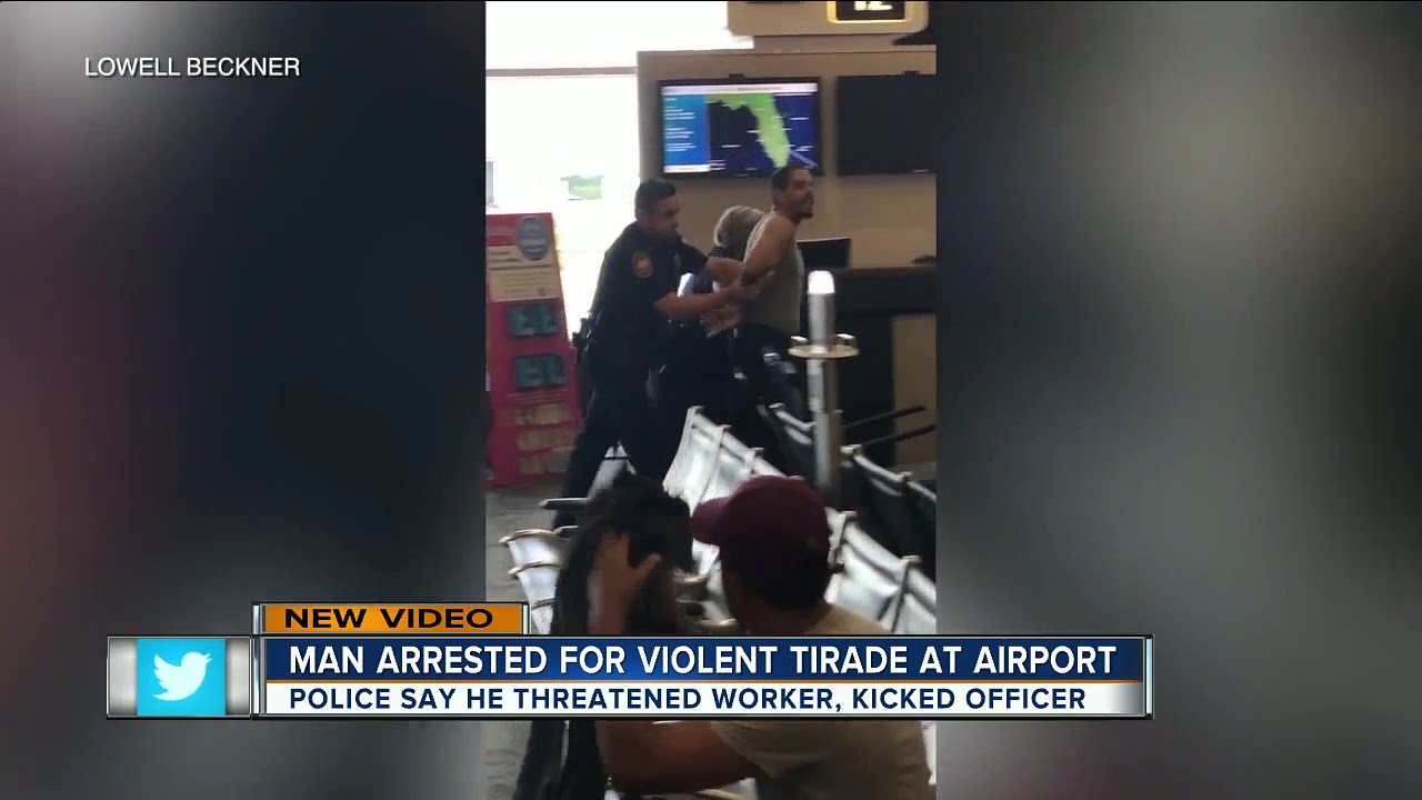 white latino Unruly traveler arrested after making scene at TIA because of flight delay