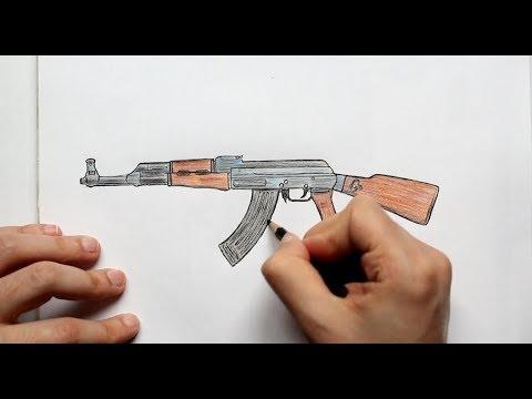 Как нарисовать Автомат Калашникова AK 47(Ehedov Elnur) How to Draw a Kalashnikov AK-47