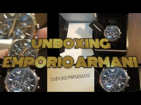Unboxing / Emporio Armani Sports Men's Blue Dial Stainless Steel Band Watch / MarkaVip