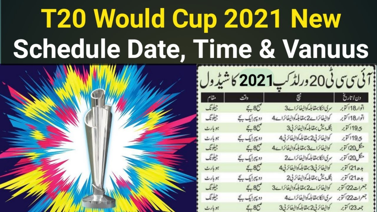 2021 World Cup Calendar T20 World cup 2021 New Schedule Date, time and venues_pak vs Eng