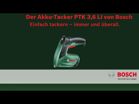 bosch stellt vor akku tacker ptk 3 6 li youtube. Black Bedroom Furniture Sets. Home Design Ideas