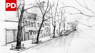 drawing street sketches york sketch architecture drawings daily paintingvalley