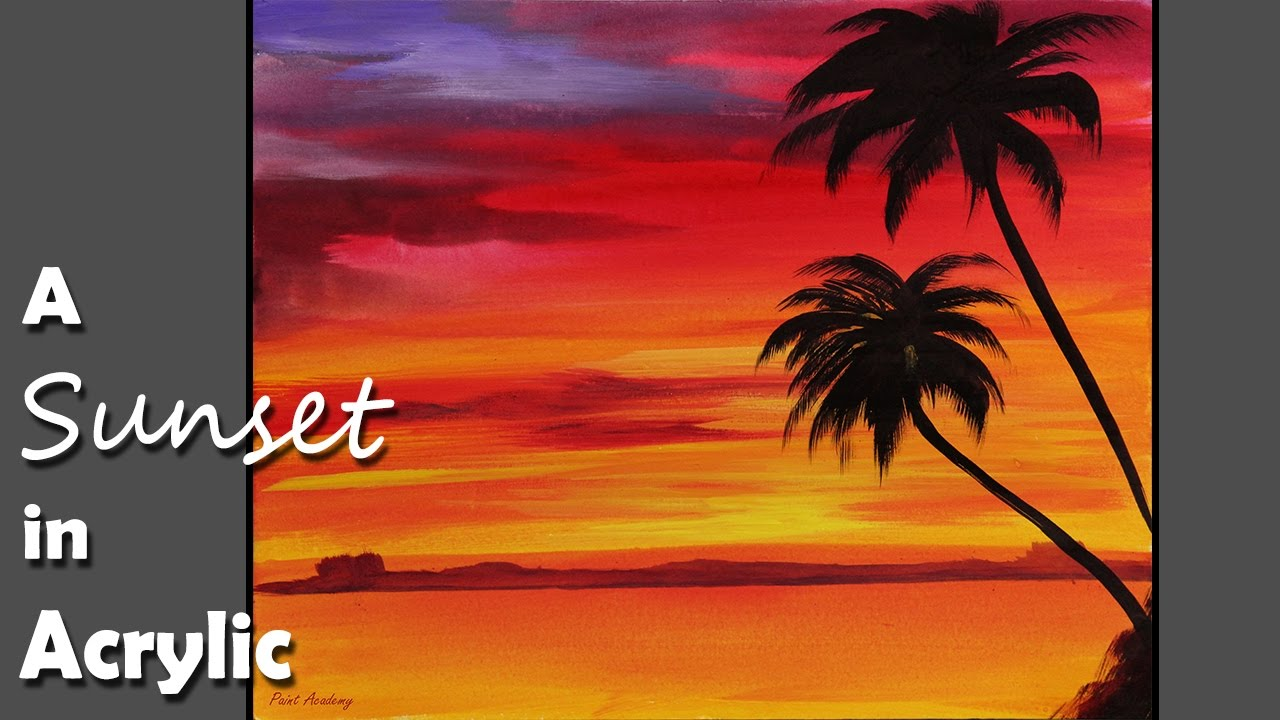 Acrylic Painting A Sunset In Acrylic Color Episode 1