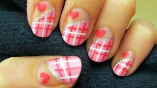 Easy Sweetheart Plaid Nail Art